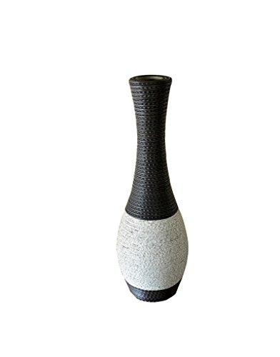 Exclusieve vaas van rotan acryl in wengé en grijs steen origineel design - huis en meer