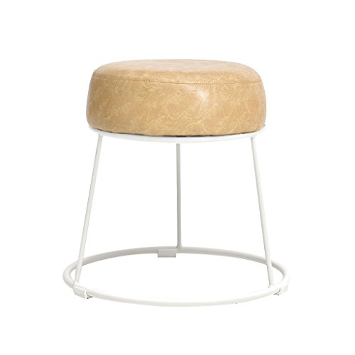 WYGG China-Möbel PU-Leder-Kunst-Schemel-Schmiedeeisen-Schemel-Bank-runder Schemel-Kosmetik-Schemel-Tabellen-Schemel-Metall-Haushalt /& (Farbe : B, größe : 38.5cm*36cm)