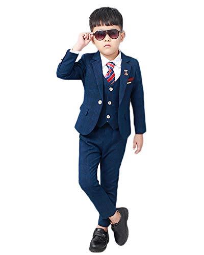 Traje para Niño Boda Ceremonia Conjunto, Blazer + Chaleco + Pantalones 3 Piezas Traje de Ceremonia Ropa de Fiesta Boda,Azul-3 Piezas,110