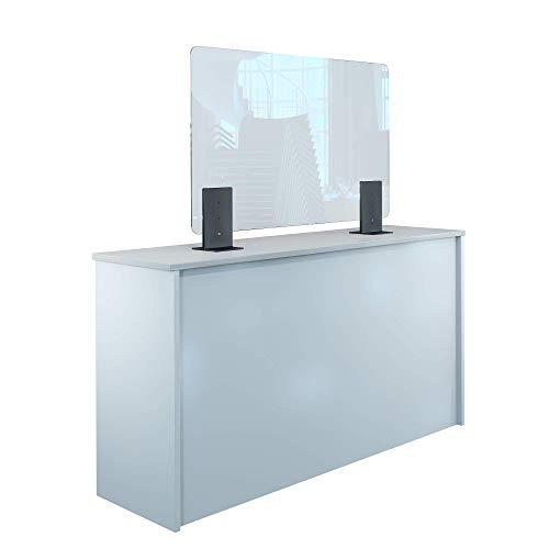 Rulopak Thekenaufsteller Trennwand/Spuckschutz Plexiglas klar mit Metallfüßen Anthrazit (Höhe justierbar) (B 100 x H 60 cm)