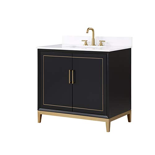 """Gracie 36"""" Bathroom Vanity and Sink Set, Midnight Black with White Granite Counter Top and Ceramic Undermount Sink"""