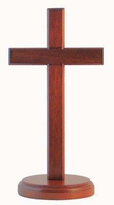 Christliche braun hölzern Cross 20cm stehen Runde base Schreibtisch Geschenk