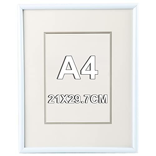 Marco de Fotos 21 x 29.7 cm A4 Blanco Estilo Sencillo PVC Panel de Cristal Marco de Fotos para Decoración Especial para Títulos Universitarios