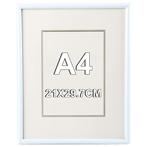 Marco de Fotos 21 x 29.7 cm A4 Blanco Estilo Sencillo PVC Panel de Cristal Marco de Fotos para Decoración Especial para...