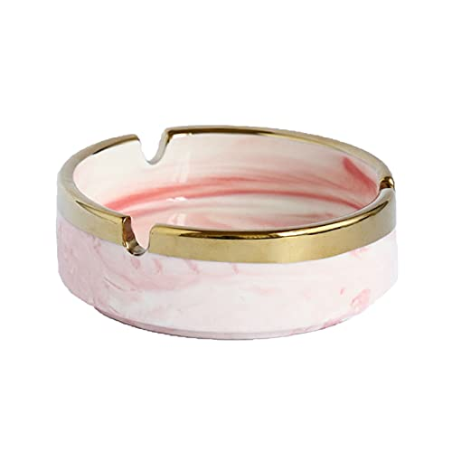 QNDYDB Cenicero de Moda, cenicero de cerámica Simple Creativo, cenicero de cerámica de Estilo nórdico, Sala de Estar de Vivienda Personalidad Creativa Adornos de Tendencia Light Pink