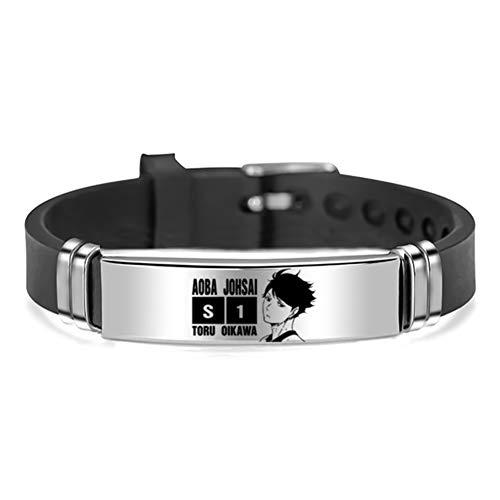 Saicowordist Haikyuu!! Armband mit Anime-Charakteren, Edelstahl, Silikon, Unisex, Geschenk für Anime-Fans (Tōru Oikawa)