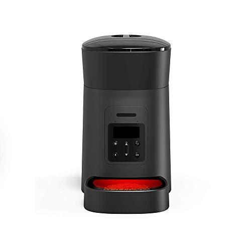 Momo's Choice Dispensador Automático de Comida para Perros y Gatos con Programación de Horarios y Dosificación. Dispensador Automático de Comida con Aviso de Voz Grabado al Servir la Comida (Negro)