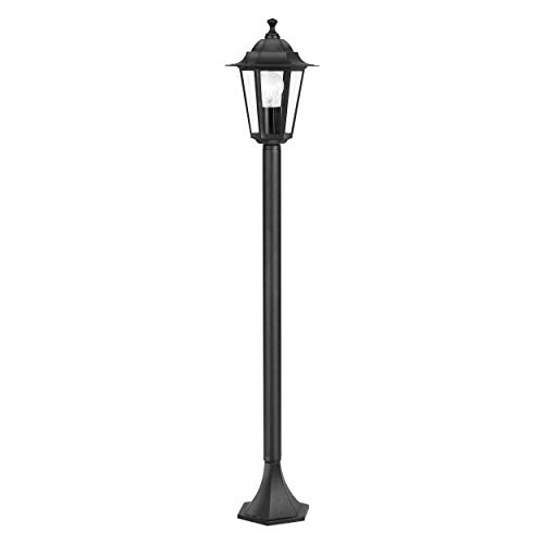 EGLO Außen-Stehlampe Laterna 4, 1 flammige Außenleuchte, Stehleuchte aus Aluguss und Glas, Farbe: Schwarz, Fassung: E27, IP44