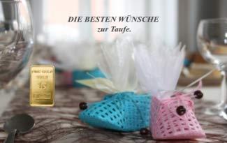 Deutsches Goldkontor 1,0 Gramm Feingold Motiv-Karte Taufe Goldbarren / 999,9 Gold