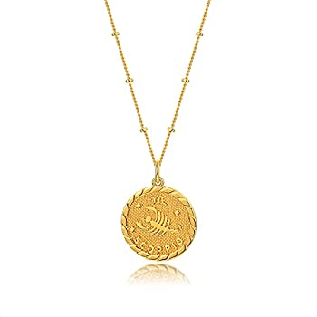 espere Scorpio - Zodiac Sign Necklace in Gold  Oct 23 - Nov 21  | Horoscope Zodiac Pendant Coin Medallion Necklace 18-20
