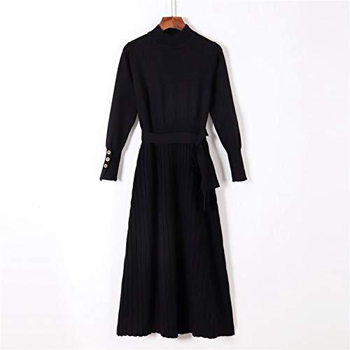 ERLIZHINIAN Moda damska elegancka długa sukienka z wysokim kołnierzem 2019 jesień zima pasek ciepła sukienka jedna linia dzianinowy sweter sukienka (kolor: Czarny 2207, rozmiar: Jeden rozmiar)