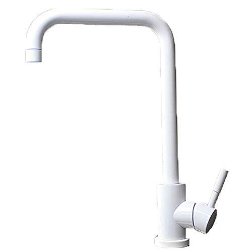 CZZJH Wasserhahn Edelstahl Hot And Cold Sink Wasserhahn Schwarzweiß Küchenarmatur Weiß