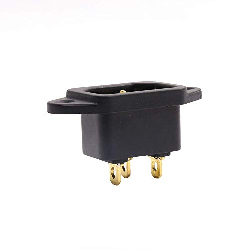 Hi-End Pure Copper Gold Plated IEC Inlet Mains Power Inlet Socket Male Panel Entry Plug HiFi