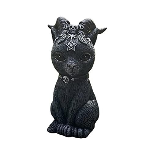 Figura decorativa de jardín para exteriores con diseño de gato creativo para Halloween, decoración de escritorio de resina y decoración de Halloween