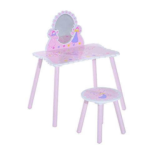 HOMCOM Tocador Infantil de Madera Mesa de Maquillaje para Niños con Espejo y Taburete 59x39x82cm Rosa