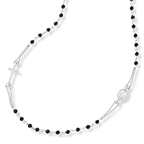 Miabella 925 Sterling Silver Italian Handmade Natural Black Spinel Rosary Beaded Sideways Cross Necklace for Women Teen Girls 18, 20 Inch Chain Made in Italy (18 Inches)