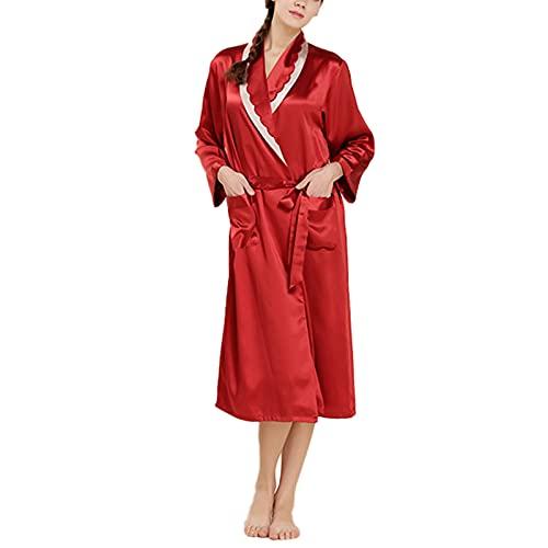 Bata De Seda 100% para Mujer, Batas De Kimono Largas De Lujo para Mujer, hasta La Rodilla, con Blet,Rojo,XL