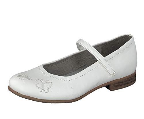 Indigo Mädchen Ballerinas Taufe Konfi Hochzeit 424-077 White Schmetterling (34 EU)