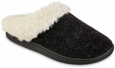 isotoner Women's Microsuede Chenille Faux Fur Indoor/Outdoor Hoodback Slipper