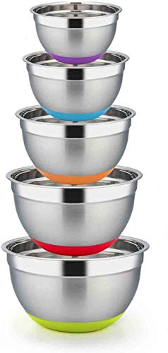 YUNLAN Kitchen software mixing bowl, every set of 5, further giant 8/5/3/2.5/1.5Qt, stainless-steel salad bowl, metallic mixing bowl, with silicone backside, wholesome and robust, may be washed within the dishwasher mi