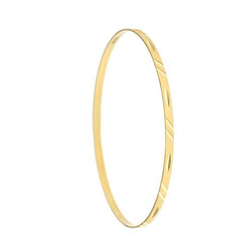 Bracciale Rigido In Oro 18kt 750/1000 Sfaccettato E Rigato Da Donna, Oro giallo