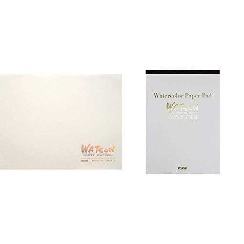 ミューズ 水彩紙 ホワイトワトソンブロック F4 300g ホワイト 15枚入り HW-304 F4 & 水彩紙 ホワイトワトソンパッド A4 190g ホワイト 15枚入り PD-6244 A4【セット買い】