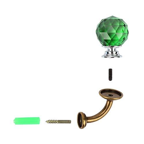 Perchero de cristal Gancho de montaje en pared Baño Guardarropa Perchero Soporte de aleación de zinc(Verde)