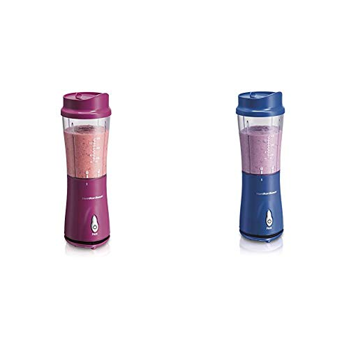 Hamilton Beach Personal Blender for Shakes and Smoothies with 14oz Travel Cup and Lid, Raspberry...
