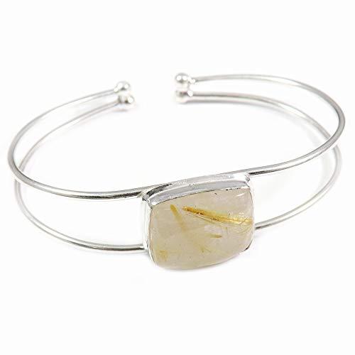 GoyalCrafts Pulsera de oro del brazalete del rutilo plateado plata de la joyería natural de la piedra preciosa GBB94