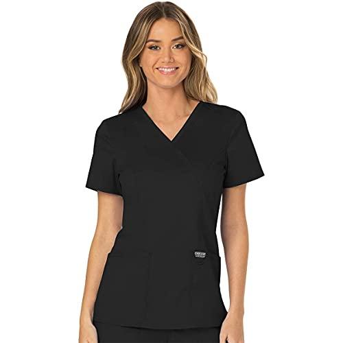 Workwear Revolution Women Scrubs Top Mock Wrap Plus Size WW610, 2XL, Black