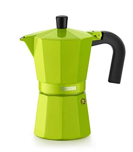 Monix Lima-Cafetera Italiana de Aluminio, 6 Tazas, Color Verde, 10 cm