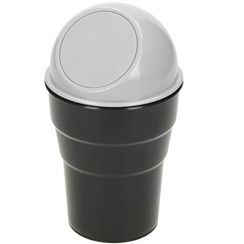 Robuster Universal Mülleimer fürs Auto klein 0,5l Abfalleimer mit Deckel Getränkehalter Tischmülleimer tragbar für Küche Büro Bad Kosmetik