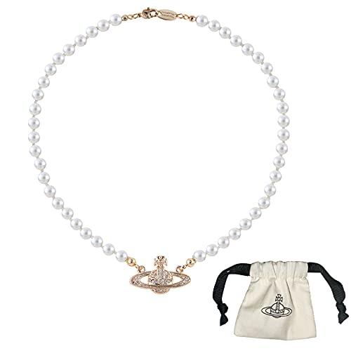 Collares de Perlas de Saturno para Mujer, Planeta Cristal Collar de Diamantes de Imitación Colgante de Damas Regalo de Joyería para el Aniversario Cumpleaños Día de la Madre (Oro)