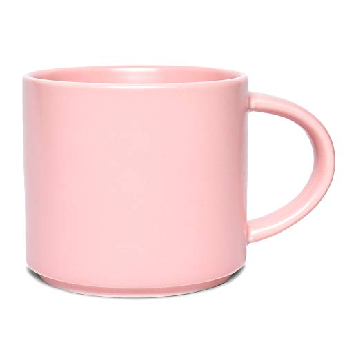 Bosmarlin Matte Ceramic Coffee Mug for Office and Home 13 oz Dishwasher and Microwave Safe Pink 1