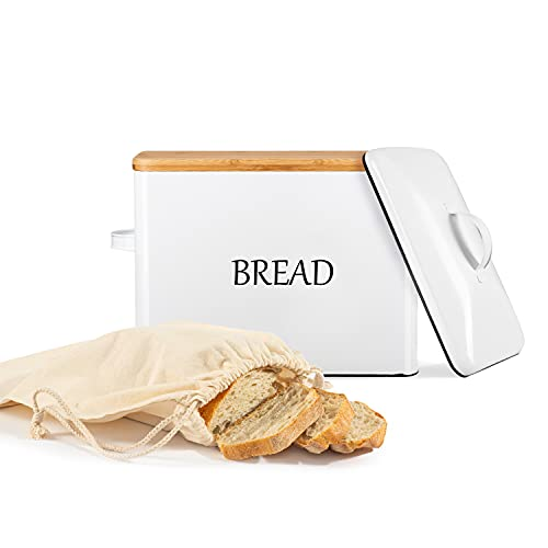 EXTRA LARGE Bread Box with 2 Lids - Metallic & Bamboo Lid - White Bread Box for Kitchen Countertop - Holds 2+ Loaves - Farmhouse Bread Box - Bread Storage Ventilation Holes - XXL Bread Bag
