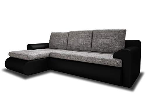 Ecksofa Santi - Polsterecke L-Form, Schlafsofa mit Bettkasten, Couchgarnitur mit Schlaffunktion, Couch, Sofa, Sofagarnitur (Schwarz + Grau (Madryt 1100 + Berlin 01), Ecksofa Links)