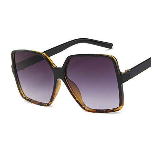 Occhiali da Sole Grandi Occhiali da Sole Oversize Signore Donne Vintage Quadrato Telaio Quadrato Occhiali da Sole Femminile Marrone Occhiali sfumati (Lenses Color : Black Leopard)