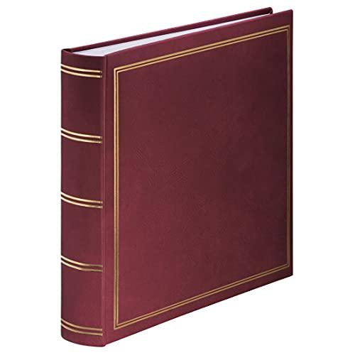 Hama Jumbo Fotoalbum London 30x30 cm (Fotobuch mit 80 weißen Seiten, Album für 320 Fotos zum Selbstgestalten und Einkleben) bordeaux