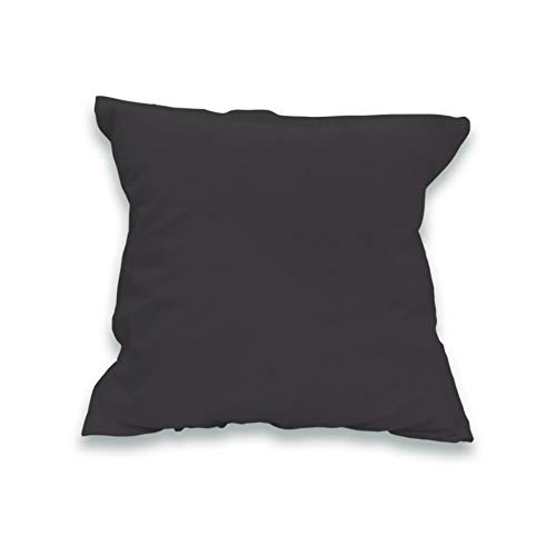 Soleil docre Funda de Almohada Lisa de algodón 57 Hilos 65x65 cm Gris Oscuro