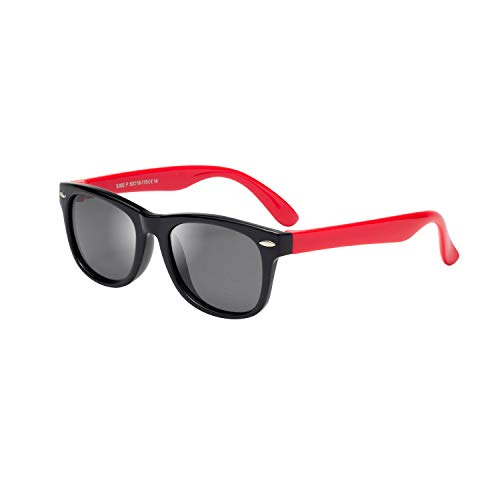Rubber Polarized aviator Sunglasses 100% UV 400 protection Unbreakable Flexible safety for Baby Children Girls Boys Age 3-12 (black frame red arms)