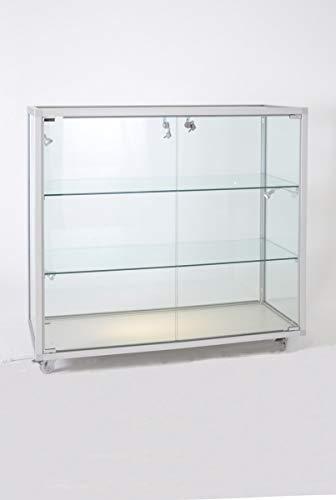 MHN Glasvitrine klein stehend abschließbar halbhoch - mit LED-Beleuchtung - Rollen - ca. 100 cm breit 40 cm tief - Spiegel-Rückwand