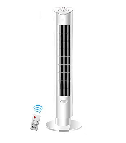 SMC Ventilator Tower Fan Vertikaler Boden Ventilator Fan Page Landing Fan Home Großer Sommer Fan No Page Schütteln Kopf Desktop Remote Control Fan (Color : Weiß)