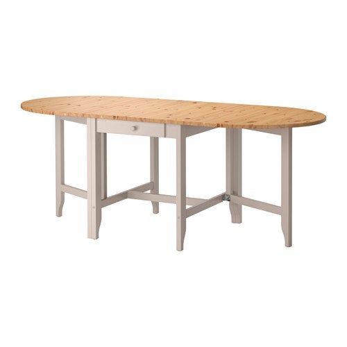 IKEA(イケア) GAMLEBY ゲートレッグテーブル, ライトアンティークステイン, グレー (40247028) (402.470.28)の写真