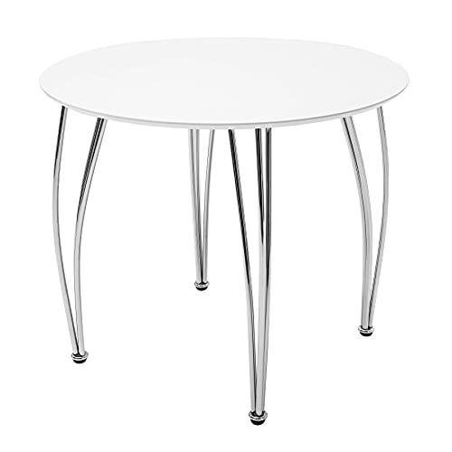 riess-ambiente.de Moderner Esstisch ARRONDI 90cm weiß Chrom rund Konferenztisch Esszimmertisch Tisch