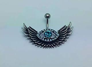 Steel Crystal Belly Angel Wing Evil Eye Navel Piercing Belly Button Ring Rhinestone Piercing Body Jewelry For Women