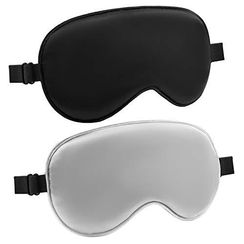 Audamp Schlafmaske Augenmaske Nachtmaske 2 Stück Augenbinde Seide Ultraweiche Schlafbrille Verstellbarem Band Damen und Herren