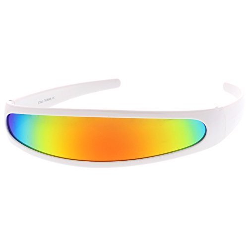 Futuristic Narrow Cyclops Color Mirrored Lens Visor Sunglasses (White/Fire)