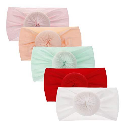 DRESHOW 5 Piezas Bebé Niña Diademas Bebé Hairband de los Bebés Recién Nacidos Diademas de Bebé Diadema Elástica Bebé Niñas Banda Para Cabeza Accesorio