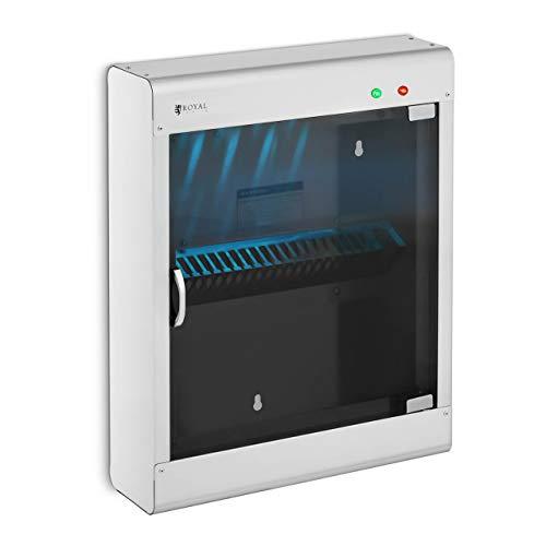 Royal Catering Esterilizador UV Para Cuchillos RC-KSSS501 (Para 20 cuchillos, Carcasa de acero inoxidable y puerta de vidrio acrílico, Temporizador 60 min)