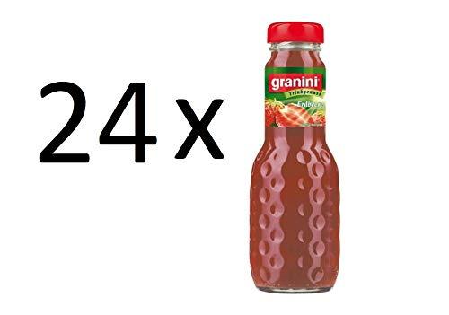 24 Flaschen a 200ml Granini Erdbeere Fruchtgehalt 25% in MEHRWEG Pfand Glas Flaschen Erdbeeren Trinkgenuss
